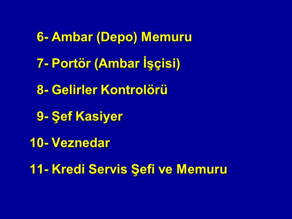 6- Ambar (Depo) Memuru 6- Ambar (Depo) Memuru 7- Portör (Ambar İşçisi) 7- Portör (Ambar İşçisi) 8- Gelirler Kontrolörü 8- Gelirler Kontrolörü 9- Şef Kasiyer 9- Şef Kasiyer 10- Veznedar 11- Kredi Servis Şefi ve Memuru