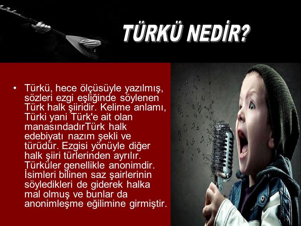 Türkü, hece ölçüsüyle yazılmış, sözleri ezgi eşliğinde söylenen Türk halk şiiridir.