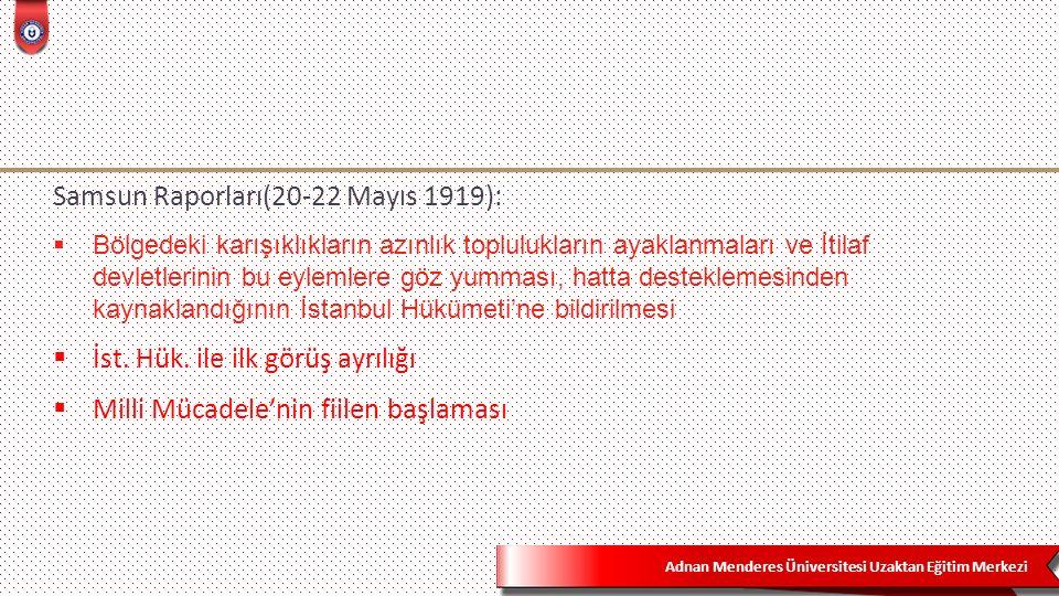 Adnan Menderes Üniversitesi Uzaktan Eğitim Merkezi Samsun Raporları(20-22 Mayıs 1919):  Bölgedeki karışıklıkların azınlık toplulukların ayaklanmaları ve İtilaf devletlerinin bu eylemlere göz yumması, hatta desteklemesinden kaynaklandığının İstanbul Hükümeti'ne bildirilmesi  İst.