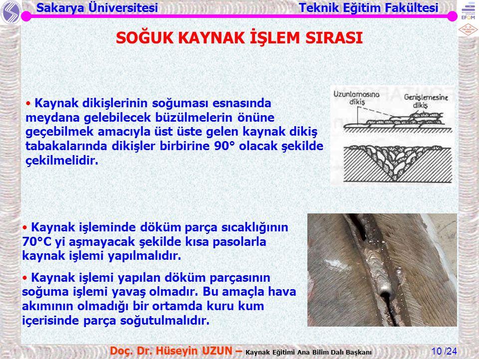 Sakarya Üniversitesi Teknik Eğitim Fakültesi /24 Doç. Dr. Hüseyin UZUN – Kaynak Eğitimi Ana Bilim Dalı Başkanı 10 Kaynak dikişlerinin soğuması esnasın