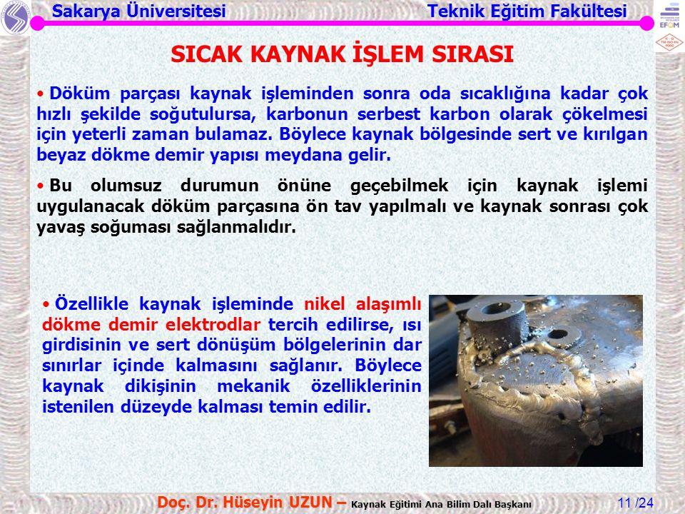 Sakarya Üniversitesi Teknik Eğitim Fakültesi /24 Doç. Dr. Hüseyin UZUN – Kaynak Eğitimi Ana Bilim Dalı Başkanı 11 SICAK KAYNAK İŞLEM SIRASI Döküm parç
