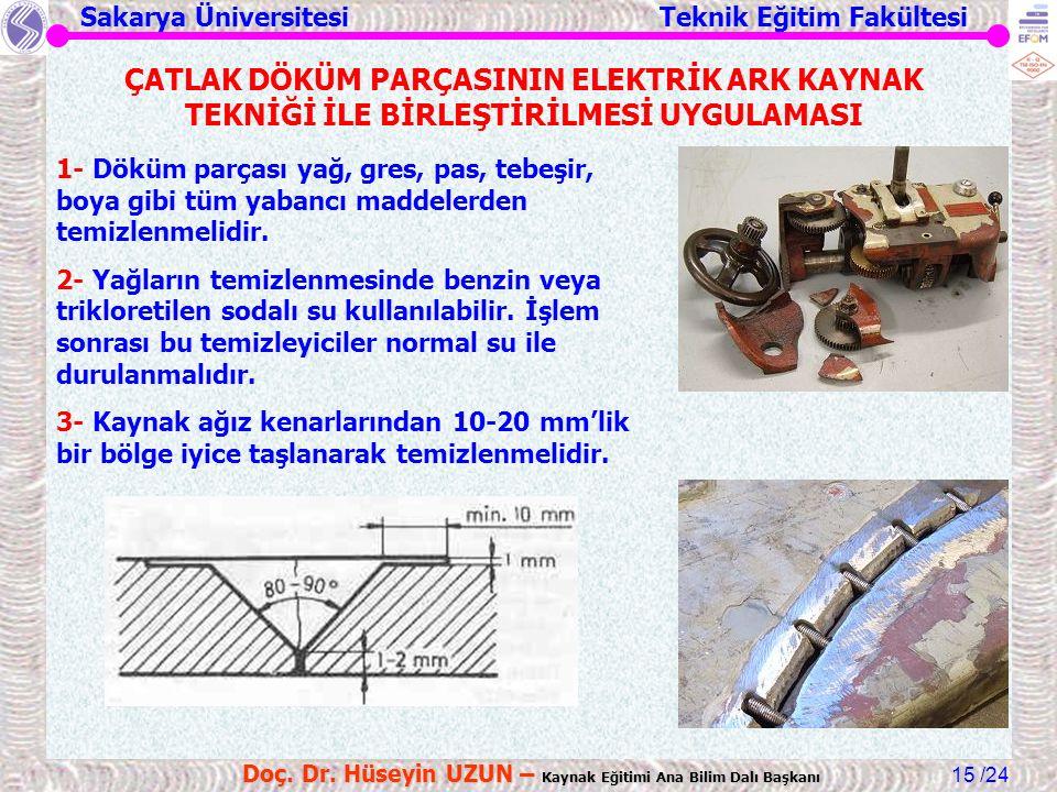 Sakarya Üniversitesi Teknik Eğitim Fakültesi /24 Doç. Dr. Hüseyin UZUN – Kaynak Eğitimi Ana Bilim Dalı Başkanı 15 ÇATLAK DÖKÜM PARÇASININ ELEKTRİK ARK