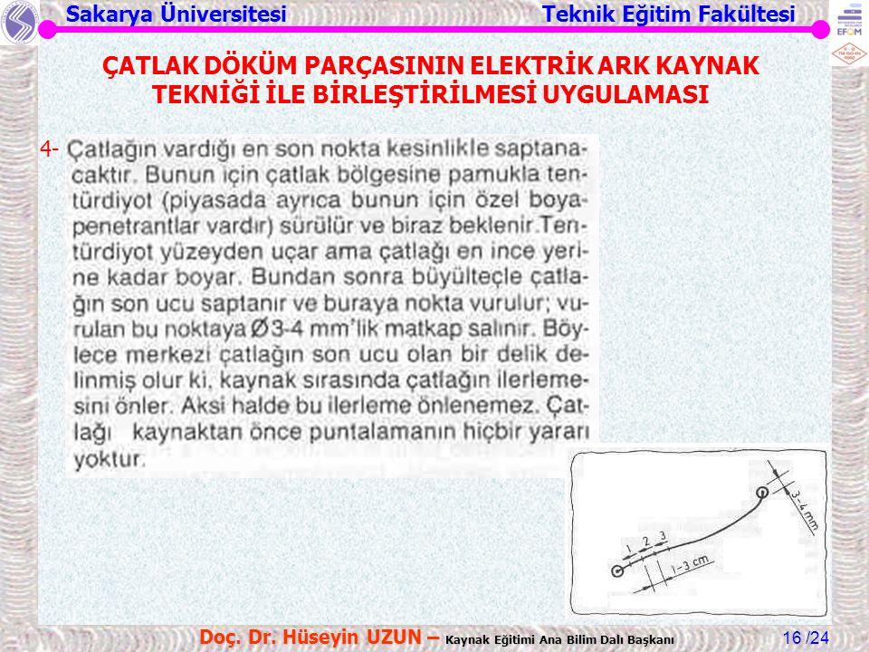 Sakarya Üniversitesi Teknik Eğitim Fakültesi /24 Doç. Dr. Hüseyin UZUN – Kaynak Eğitimi Ana Bilim Dalı Başkanı 16 ÇATLAK DÖKÜM PARÇASININ ELEKTRİK ARK