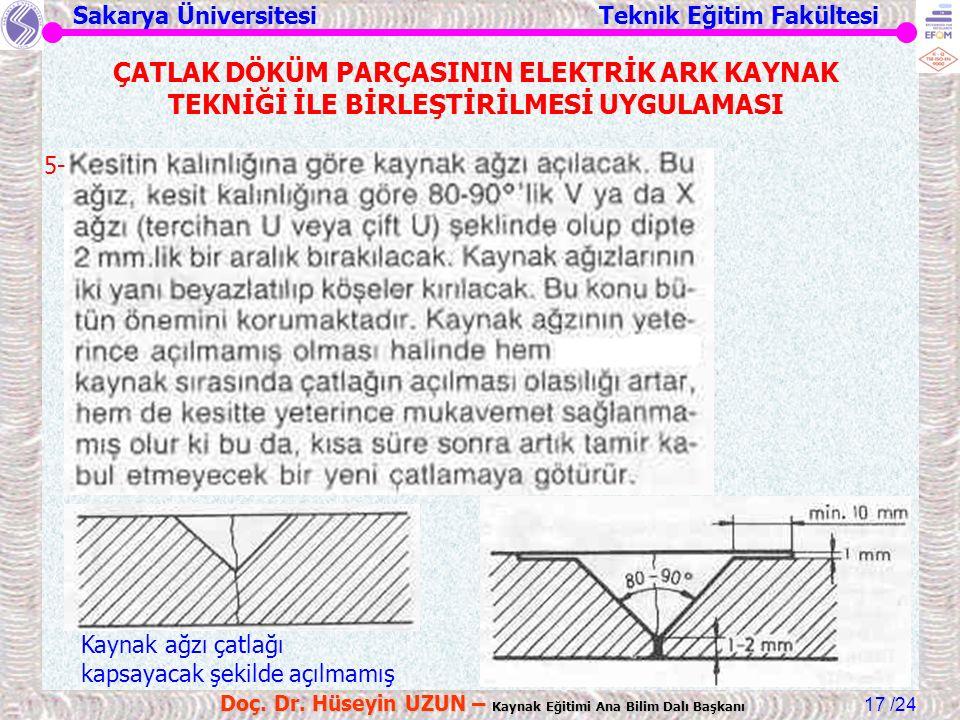 Sakarya Üniversitesi Teknik Eğitim Fakültesi /24 Doç. Dr. Hüseyin UZUN – Kaynak Eğitimi Ana Bilim Dalı Başkanı 17 ÇATLAK DÖKÜM PARÇASININ ELEKTRİK ARK