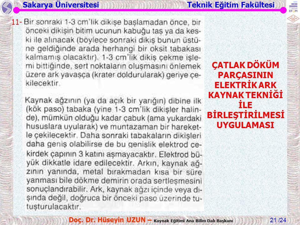 Sakarya Üniversitesi Teknik Eğitim Fakültesi /24 Doç. Dr. Hüseyin UZUN – Kaynak Eğitimi Ana Bilim Dalı Başkanı 21 ÇATLAK DÖKÜM PARÇASININ ELEKTRİK ARK