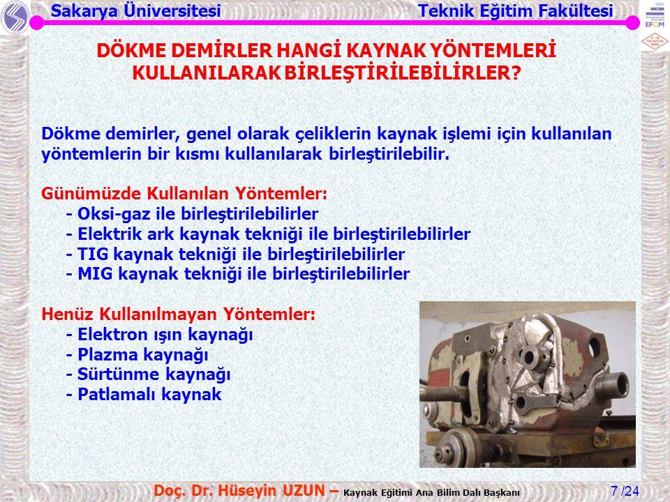 Sakarya Üniversitesi Teknik Eğitim Fakültesi /24 Doç. Dr. Hüseyin UZUN – Kaynak Eğitimi Ana Bilim Dalı Başkanı 7 Dökme demirler, genel olarak çelikler
