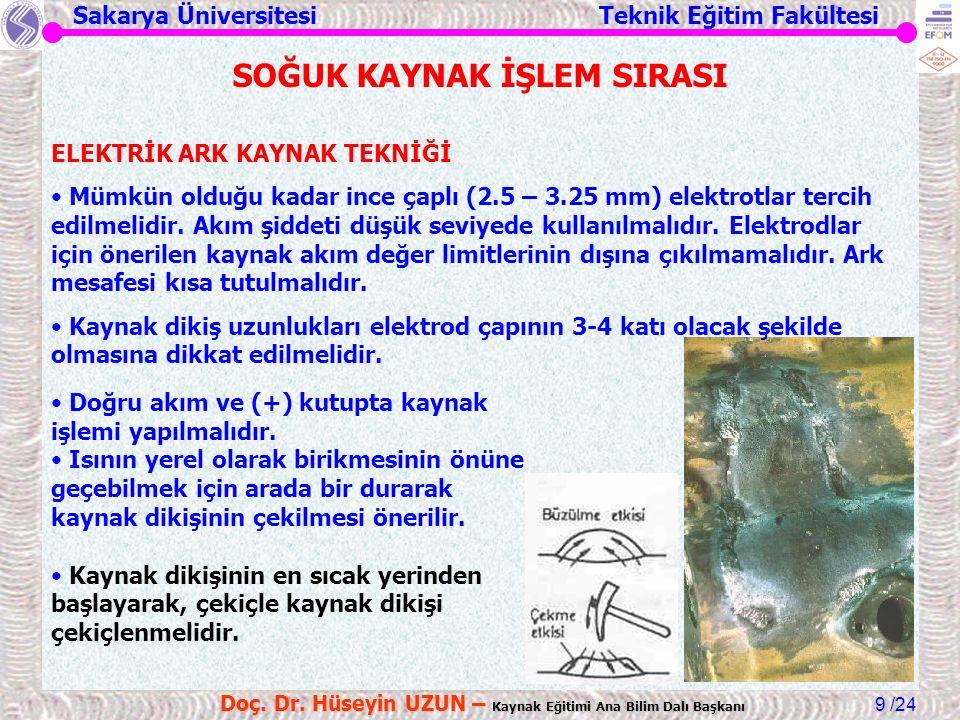 Sakarya Üniversitesi Teknik Eğitim Fakültesi /24 Doç. Dr. Hüseyin UZUN – Kaynak Eğitimi Ana Bilim Dalı Başkanı 9 SOĞUK KAYNAK İŞLEM SIRASI ELEKTRİK AR