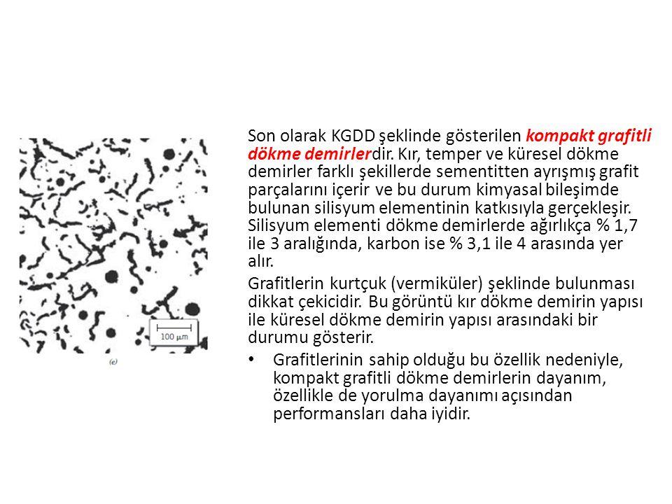 Son olarak KGDD şeklinde gösterilen kompakt grafitli dökme demirlerdir. Kır, temper ve küresel dökme demirler farklı şekillerde sementitten ayrışmış g