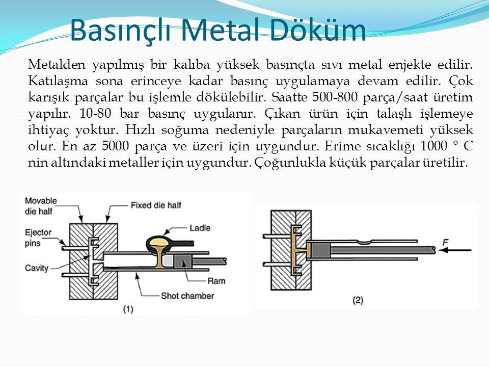 Metalden yapılmış bir kalıba yüksek basınçta sıvı metal enjekte edilir.