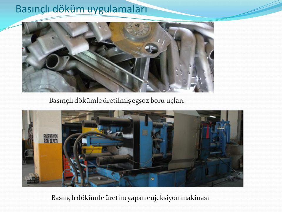 Basınçlı döküm uygulamaları Basınçlı dökümle üretilmiş egsoz boru uçları Basınçlı dökümle üretim yapan enjeksiyon makinası