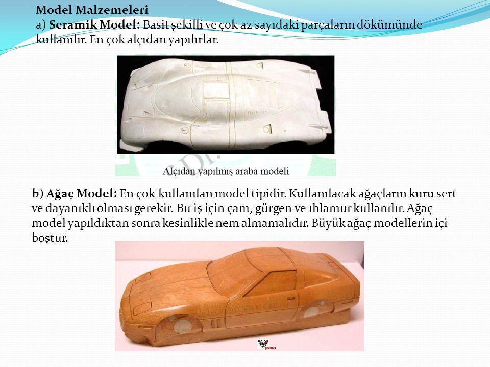 Model Malzemeleri a) Seramik Model: Basit şekilli ve çok az sayıdaki parçaların dökümünde kullanılır.