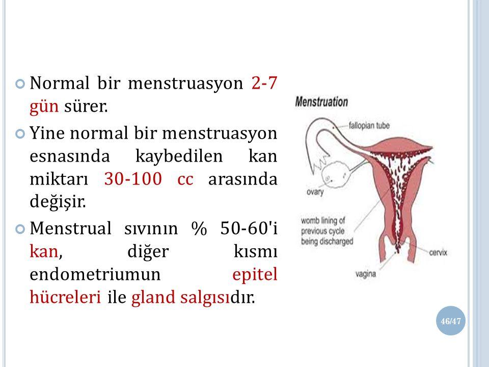 Normal bir menstruasyon 2-7 gün sürer.