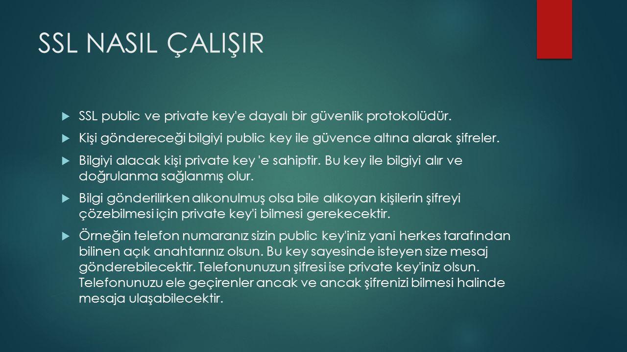 SSL NASIL ÇALIŞIR  SSL public ve private key e dayalı bir güvenlik protokolüdür.