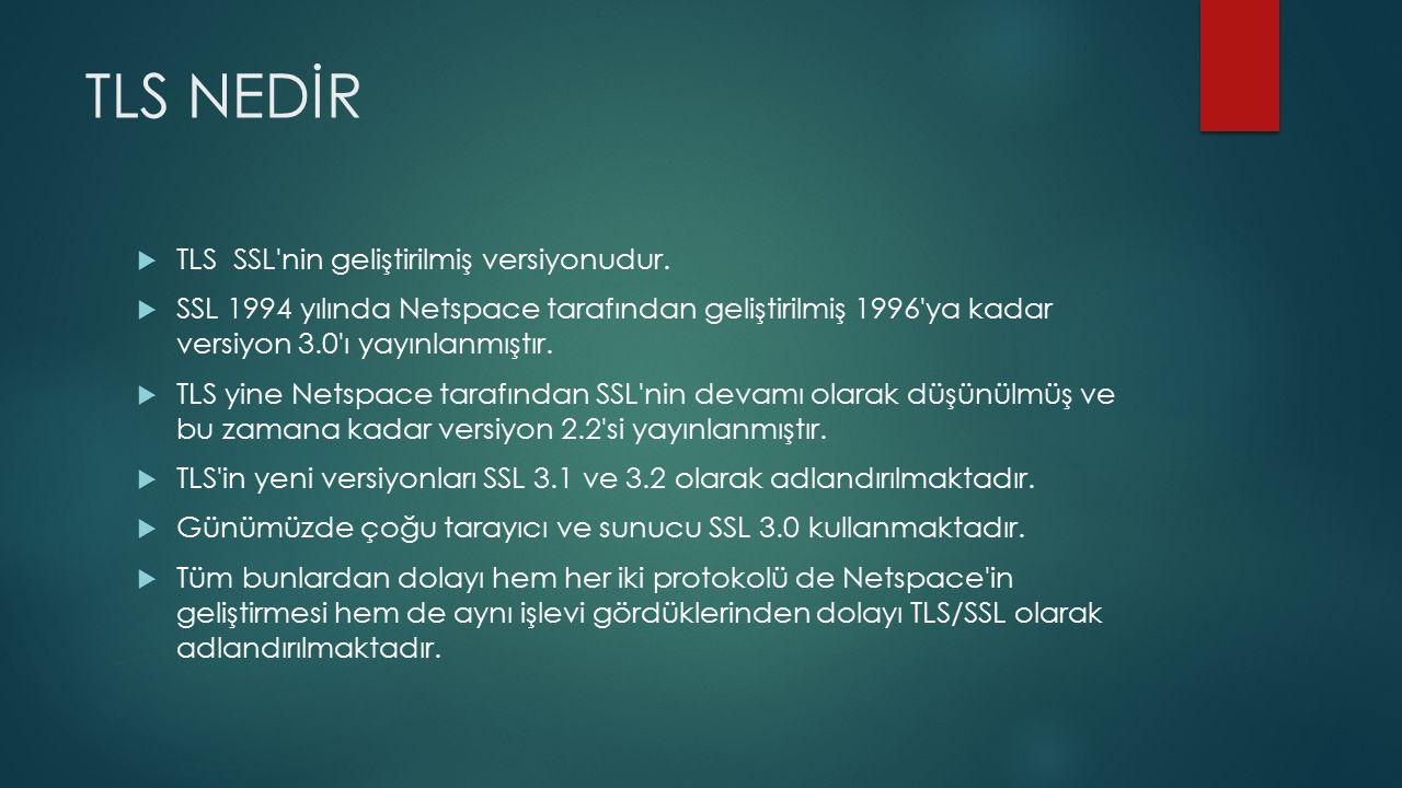 TLS NEDİR  TLS SSL nin geliştirilmiş versiyonudur.