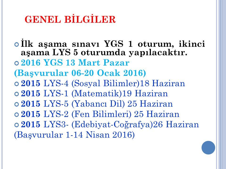 GENEL BİLGİLER İlk aşama sınavı YGS 1 oturum, ikinci aşama LYS 5 oturumda yapılacaktır. 2016 YGS 13 Mart Pazar (Başvurular 06-20 Ocak 2016) 2015 LYS-4