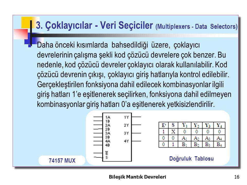 Bileşik Mantık Devreleri 16 3. Çoklayıcılar - Veri Seçiciler (Multiplexers - Data Selectors) Daha önceki kısımlarda bahsedildiği üzere, çoklayıcı devr