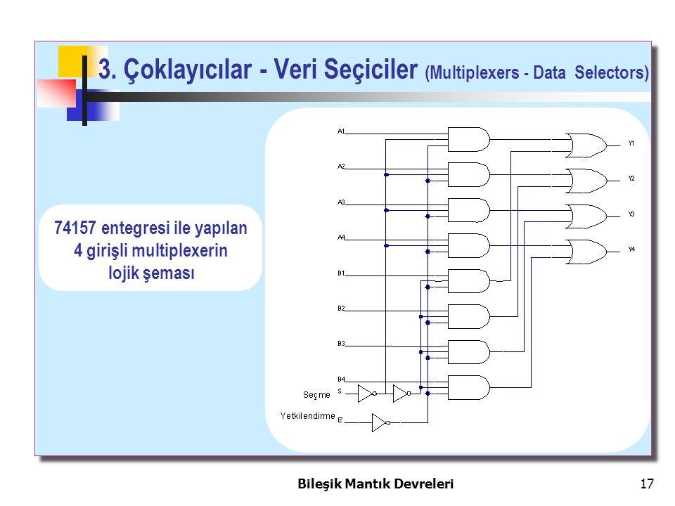 Bileşik Mantık Devreleri 17 74157 entegresi ile yapılan 4 girişli multiplexerin lojik şeması 3. Çoklayıcılar - Veri Seçiciler (Multiplexers - Data Sel