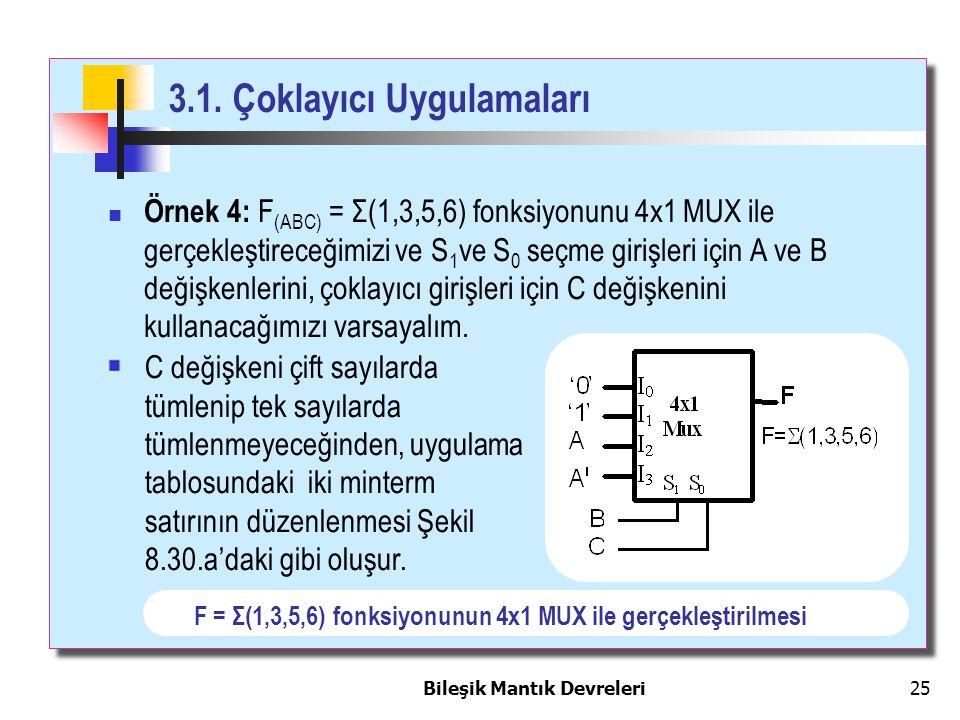 Bileşik Mantık Devreleri 25 3.1. Çoklayıcı Uygulamaları Örnek 4: F (ABC) = Σ(1,3,5,6) fonksiyonunu 4x1 MUX ile gerçekleştireceğimizi ve S 1 ve S 0 seç