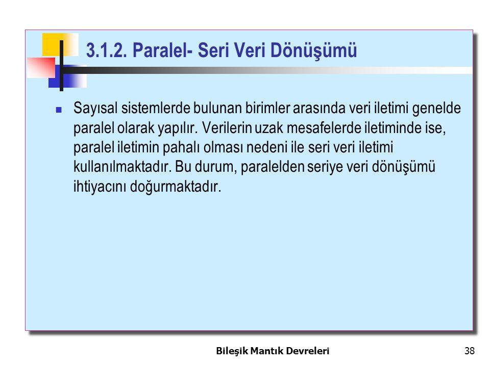 Bileşik Mantık Devreleri 38 3.1.2. Paralel- Seri Veri Dönüşümü Sayısal sistemlerde bulunan birimler arasında veri iletimi genelde paralel olarak yapıl