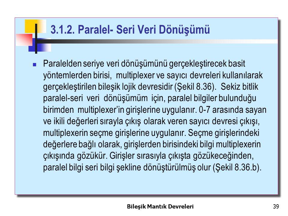 Bileşik Mantık Devreleri 39 3.1.2. Paralel- Seri Veri Dönüşümü Paralelden seriye veri dönüşümünü gerçekleştirecek basit yöntemlerden birisi, multiplex