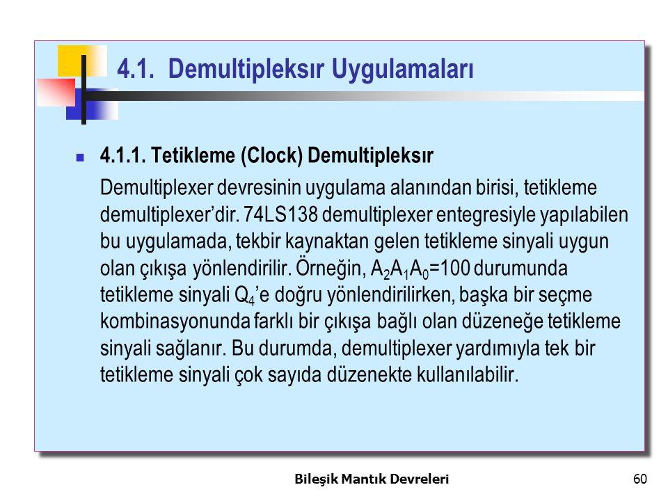 Bileşik Mantık Devreleri 60 4.1.1. Tetikleme (Clock) Demultipleksır Demultiplexer devresinin uygulama alanından birisi, tetikleme demultiplexer'dir. 7