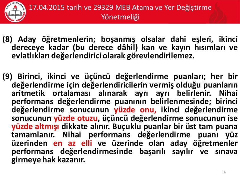 17.04.2015 tarih ve 29329 MEB Atama ve Yer Değiştirme Yönetmeliği (8) Aday öğretmenlerin; boşanmış olsalar dahi eşleri, ikinci dereceye kadar (bu derece dâhil) kan ve kayın hısımları ve evlatlıkları değerlendirici olarak görevlendirilemez.