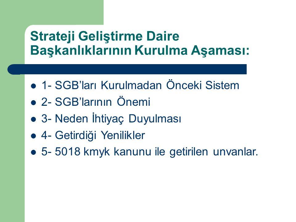 Strateji Geliştirme Dairesi Başkanlığı 5436 Sayılı Kanun Madde 15 …………………………………….