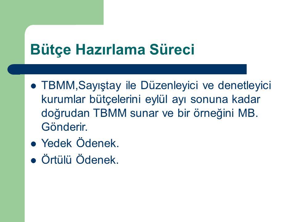 Bütçe Hazırlama Süreci TBMM,Sayıştay ile Düzenleyici ve denetleyici kurumlar bütçelerini eylül ayı sonuna kadar doğrudan TBMM sunar ve bir örneğini MB.