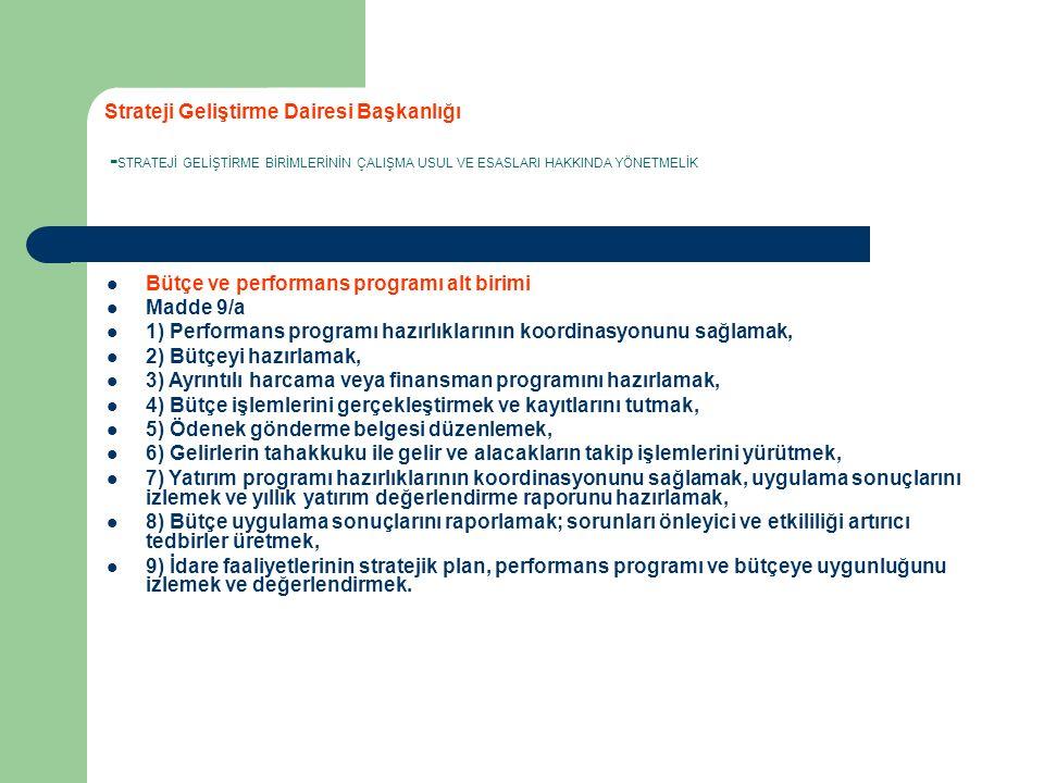 Strateji Geliştirme Dairesi Başkanlığı - STRATEJİ GELİŞTİRME BİRİMLERİNİN ÇALIŞMA USUL VE ESASLARI HAKKINDA YÖNETMELİK Bütçe ve performans programı alt birimi Madde 9/a 1) Performans programı hazırlıklarının koordinasyonunu sağlamak, 2) Bütçeyi hazırlamak, 3) Ayrıntılı harcama veya finansman programını hazırlamak, 4) Bütçe işlemlerini gerçekleştirmek ve kayıtlarını tutmak, 5) Ödenek gönderme belgesi düzenlemek, 6) Gelirlerin tahakkuku ile gelir ve alacakların takip işlemlerini yürütmek, 7) Yatırım programı hazırlıklarının koordinasyonunu sağlamak, uygulama sonuçlarını izlemek ve yıllık yatırım değerlendirme raporunu hazırlamak, 8) Bütçe uygulama sonuçlarını raporlamak; sorunları önleyici ve etkililiği artırıcı tedbirler üretmek, 9) İdare faaliyetlerinin stratejik plan, performans programı ve bütçeye uygunluğunu izlemek ve değerlendirmek.