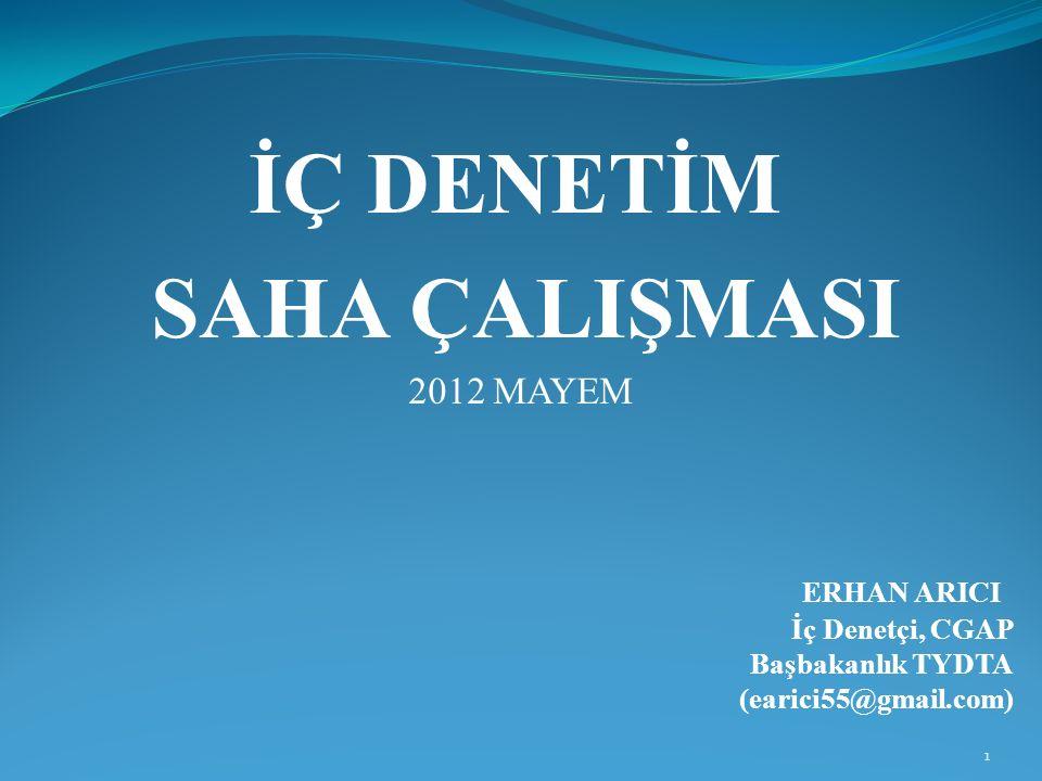 İÇ DENETİM SAHA ÇALIŞMASI 2012 MAYEM ERHAN ARICI İç Denetçi, CGAP Başbakanlık TYDTA (earici55@gmail.com) 1