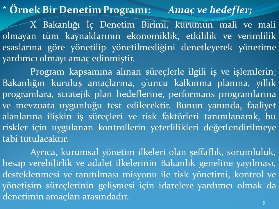 * Örnek Bir Denetim Programı: Amaç ve hedefler; X Bakanlığı İç Denetim Birimi, kurumun mali ve mali olmayan tüm kaynaklarının ekonomiklik, etkililik v