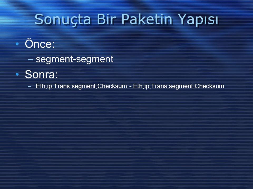 Sonuçta Bir Paketin Yapısı Önce: –segment-segment Sonra: –Eth;ip;Trans;segment;Checksum - Eth;ip;Trans;segment;Checksum
