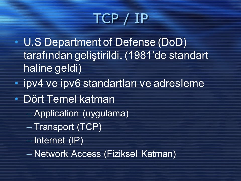TCP / IP U.S Department of Defense (DoD) tarafından geliştirildi.