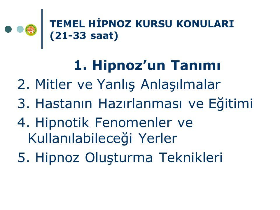 TEMEL HİPNOZ KURSU KONULARI (21-33 saat) 1. Hipnoz'un Tanımı 2. Mitler ve Yanlış Anlaşılmalar 3. Hastanın Hazırlanması ve Eğitimi 4. Hipnotik Fenomenl