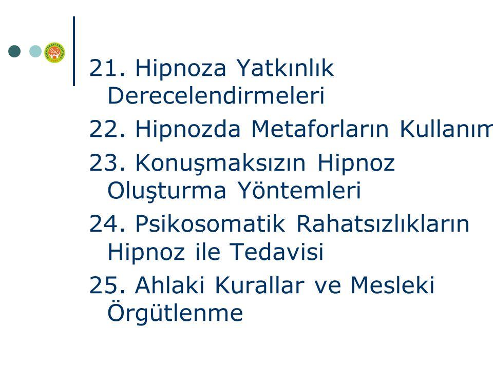 21. Hipnoza Yatkınlık Derecelendirmeleri 22. Hipnozda Metaforların Kullanımı 23.