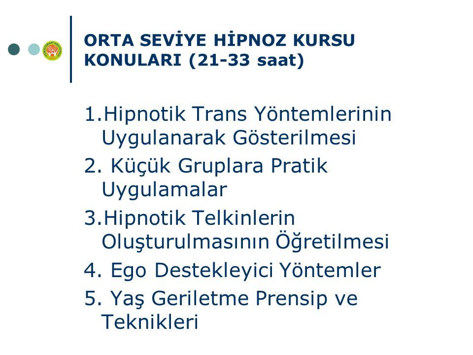 ORTA SEVİYE HİPNOZ KURSU KONULARI (21-33 saat) 1.Hipnotik Trans Yöntemlerinin Uygulanarak Gösterilmesi 2.