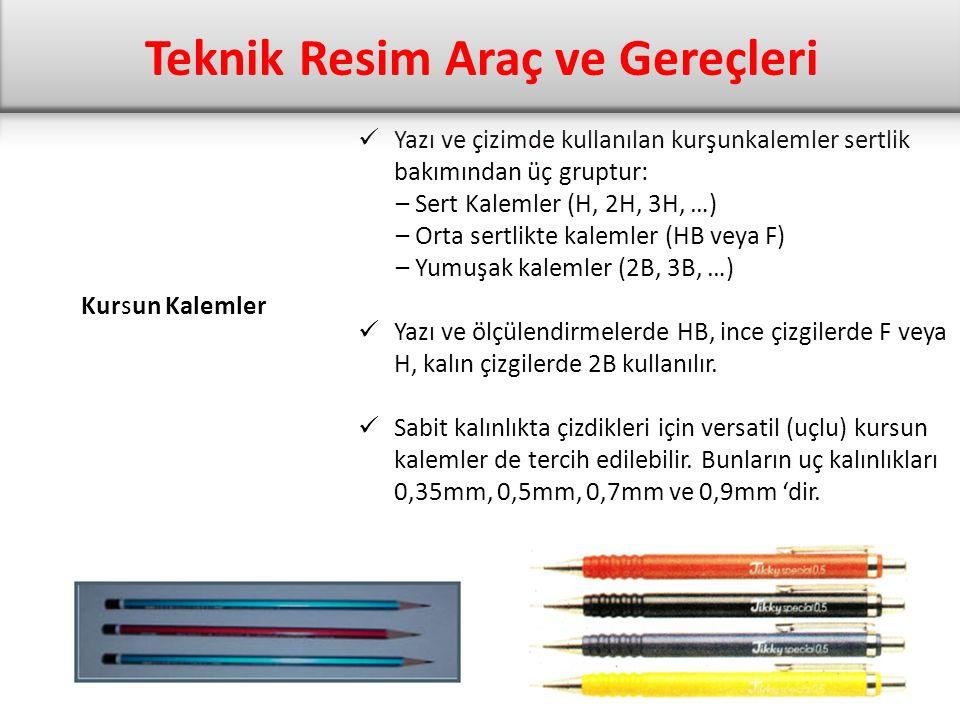 Kursun Kalemler Yazı ve çizimde kullanılan kurşunkalemler sertlik bakımından üç gruptur: – Sert Kalemler (H, 2H, 3H, …) – Orta sertlikte kalemler (HB