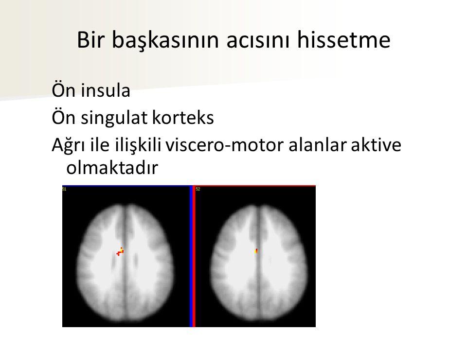 Bir başkasının acısını hissetme Ön insula Ön singulat korteks Ağrı ile ilişkili viscero-motor alanlar aktive olmaktadır