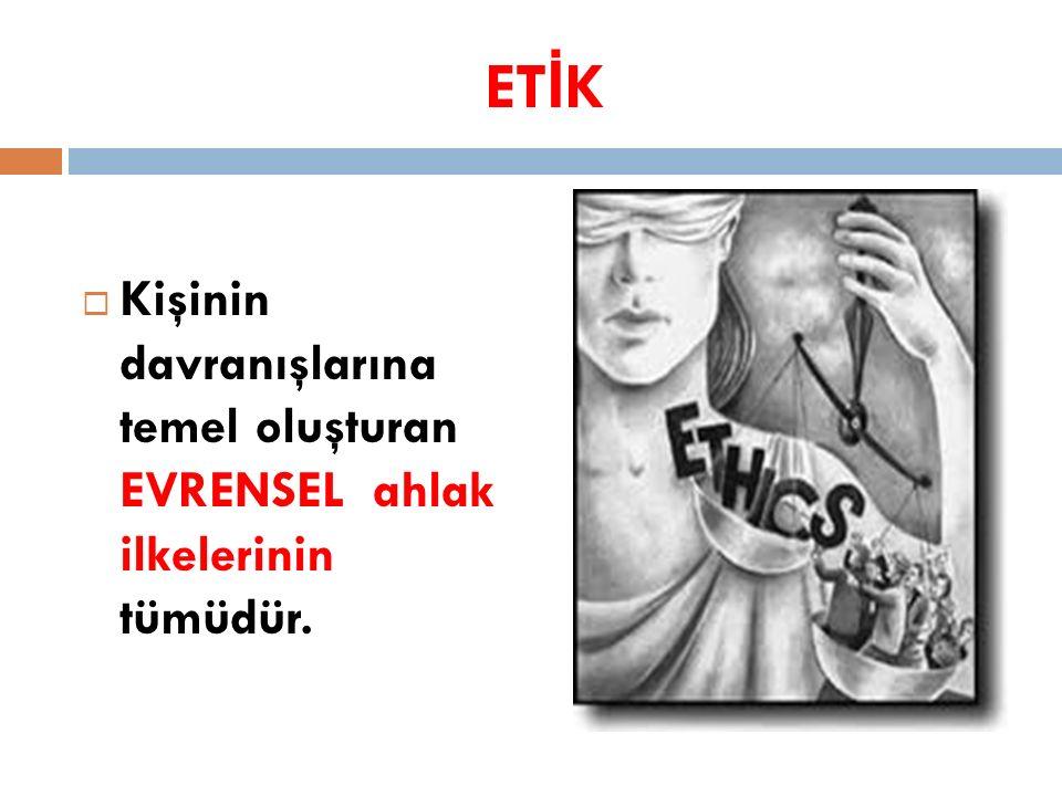 ET İ K  Kişinin davranışlarına temel oluşturan EVRENSEL ahlak ilkelerinin tümüdür.