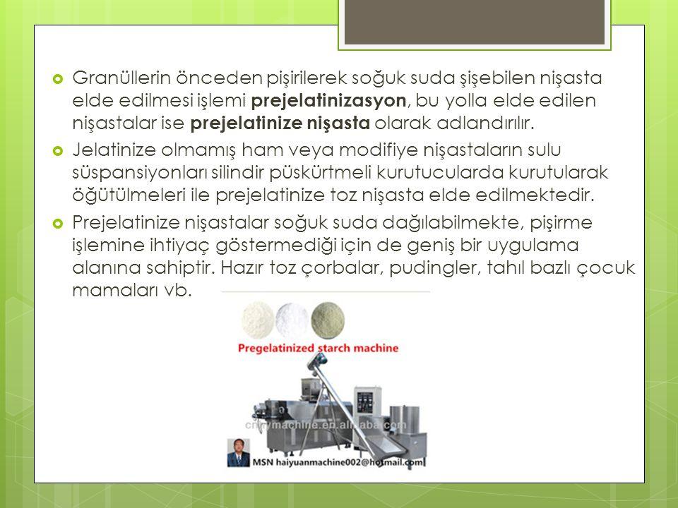  Granüllerin önceden pişirilerek soğuk suda şişebilen nişasta elde edilmesi işlemi prejelatinizasyon, bu yolla elde edilen nişastalar ise prejelatinize nişasta olarak adlandırılır.