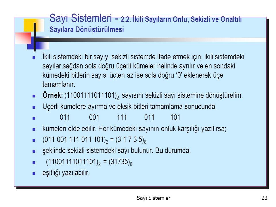 Sayı Sistemleri23 Sayı Sistemleri - 2.2.