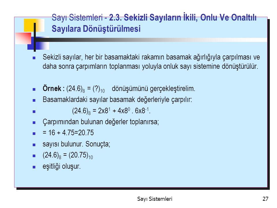 Sayı Sistemleri27 Sayı Sistemleri - 2.3.