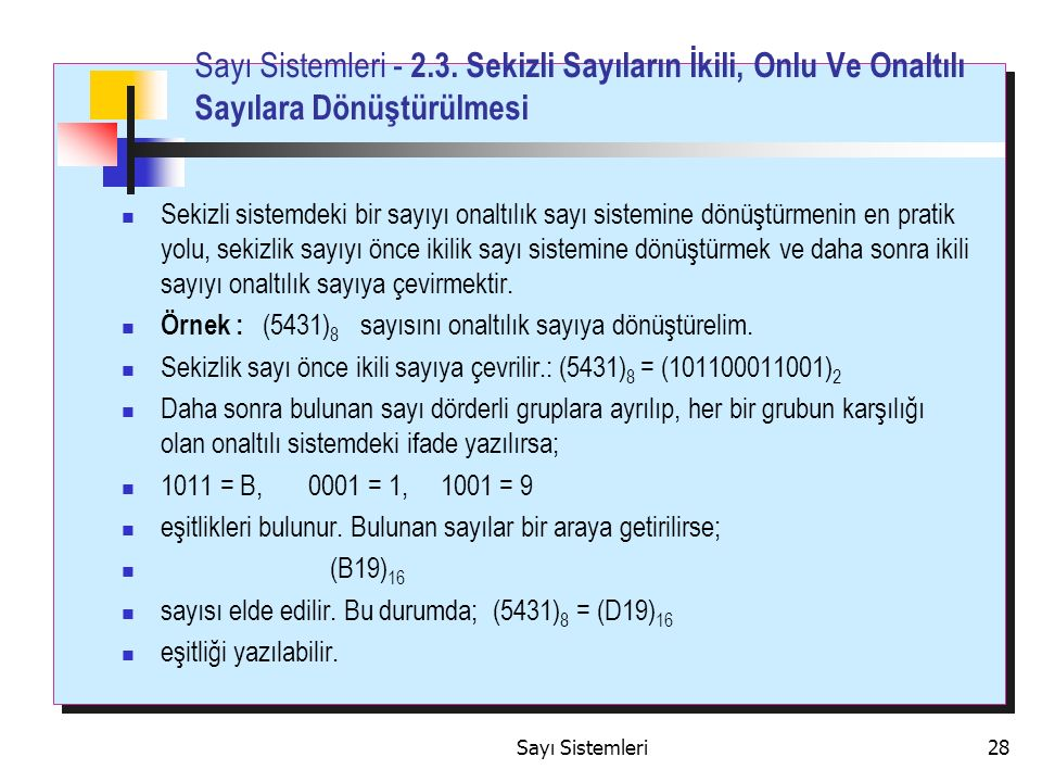 Sayı Sistemleri28 Sayı Sistemleri - 2.3.