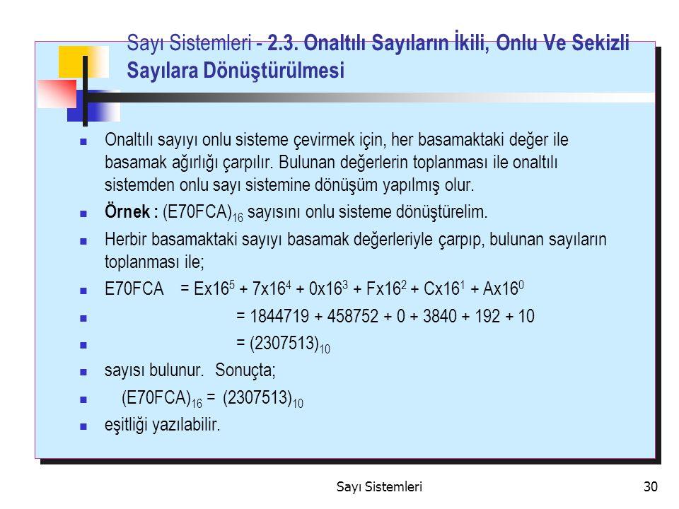 Sayı Sistemleri30 Sayı Sistemleri - 2.3.