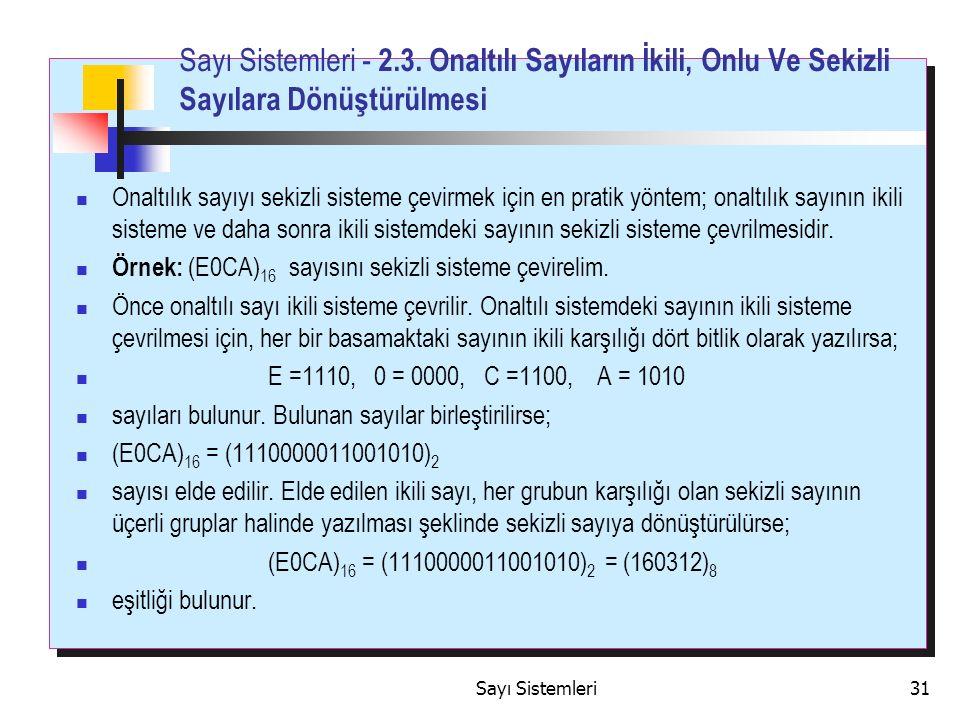 Sayı Sistemleri31 Sayı Sistemleri - 2.3.