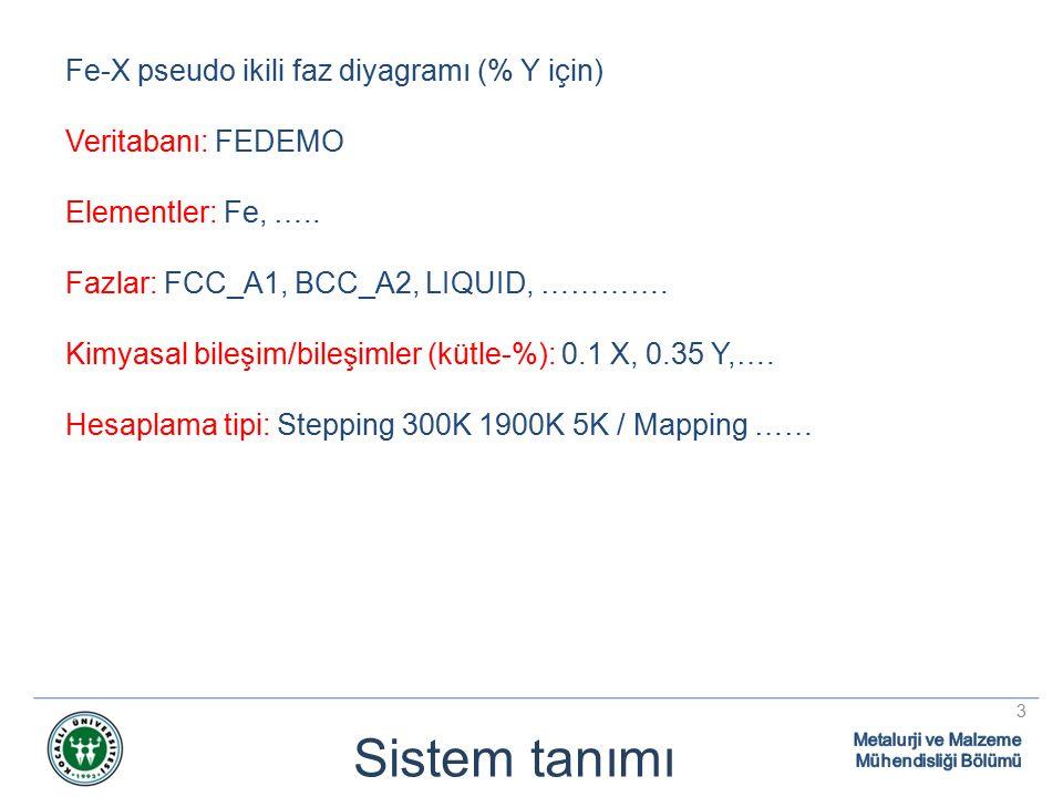 Sistem tanımı 3 Fe-X pseudo ikili faz diyagramı (% Y için) Veritabanı: FEDEMO Elementler: Fe, …..