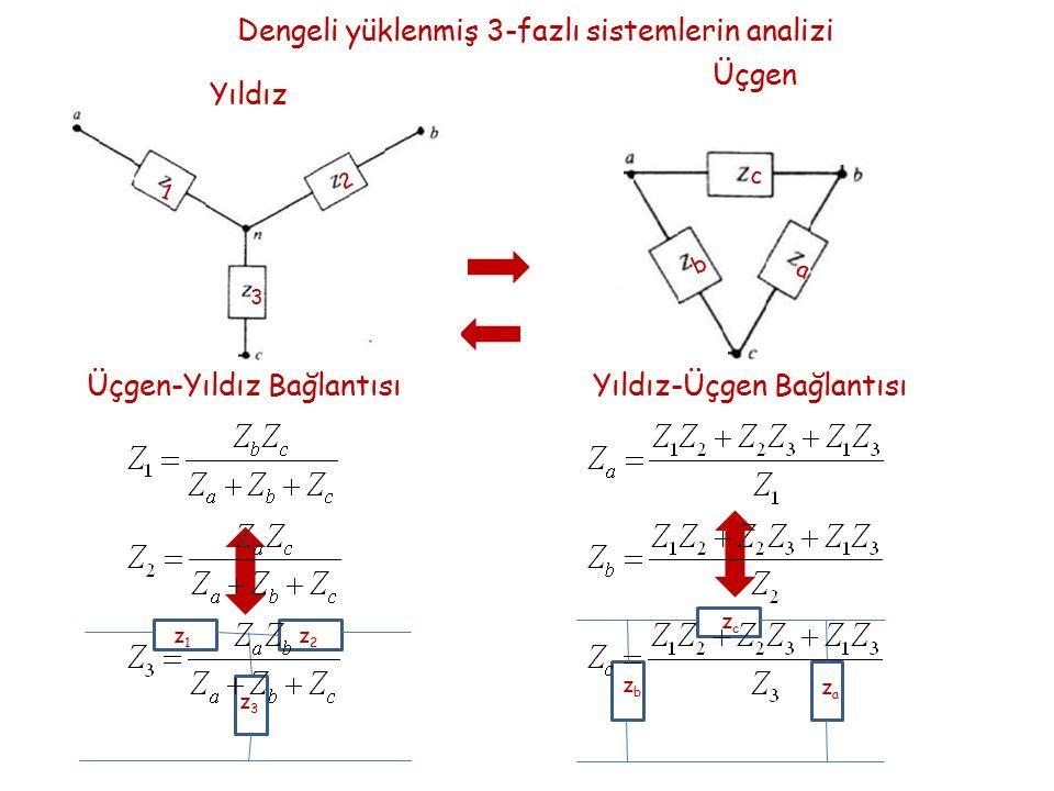 Dengeli yüklenmiş 3-fazlı sistemlerin analizi Üçgen a b c Yıldız 1 2 3 z1z1 z2z2 z3z3 zczc zbzb zaza Üçgen-Yıldız BağlantısıYıldız-Üçgen Bağlantısı
