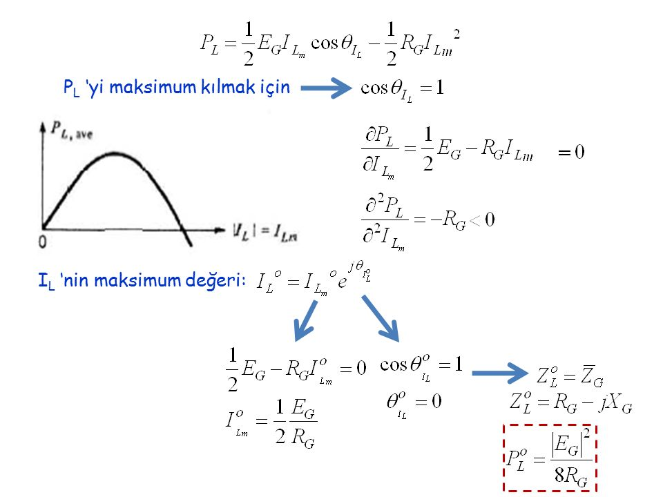 P L 'yi maksimum kılmak için I L 'nin maksimum değeri: