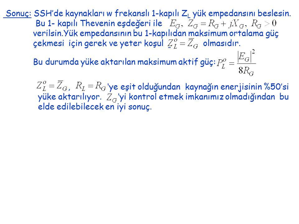 Sonuç: SSH'de kaynakları w frekanslı 1-kapılı Z L yük empedansını beslesin. Bu 1- kapılı Thevenin eşdeğeri ile verilsin.Yük empedansının bu 1-kapılıda
