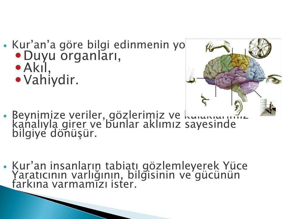 Kur'an'a göre bilgi edinmenin yolları: Duyu organları, Akıl, Vahiydir. Beynimize veriler, gözlerimiz ve kulaklarımız kanalıyla girer ve bunlar aklımız